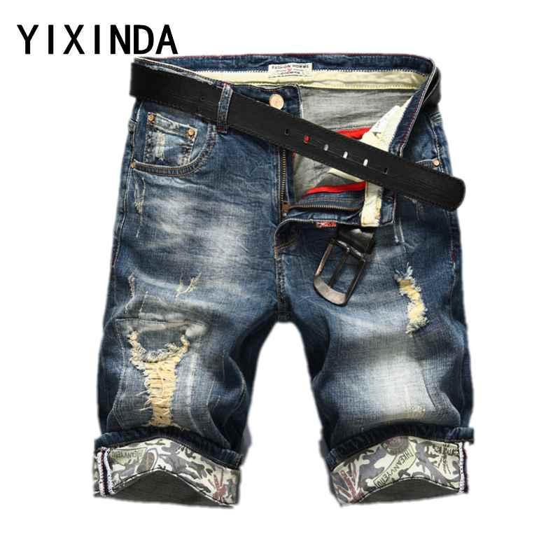 YIXINDA Hot Selling Summer Casual Thin Short Homme De Marque 2018 Youth Mens Denim Shorts Elasticity Distressed Skinny Jeans Men