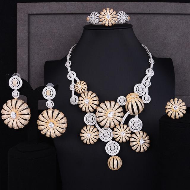 b12e81fef29e GODKI súper lujo Flor de amapola Cubic Zircon pendiente determinada del collar  nupcial joyería conjuntos para mujeres africano cuentas de joyería conjunto