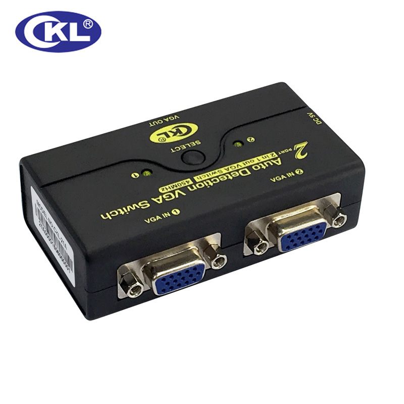 CKL Auto VGA Switch 2 In 1 Out 1 Monitor 2 Computers Switcher Support Auto Detection 2048*1536 USB Powered CKL-21A