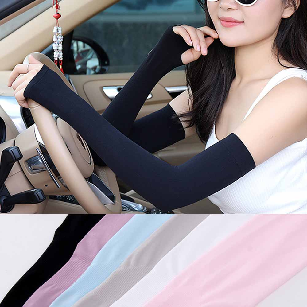 2 Pcs Arm Sun Sleeves Safety Breathable Quick Dry UV Protection Sleeves Long Arm Cover Cooling For Women Driving Cycling Summer