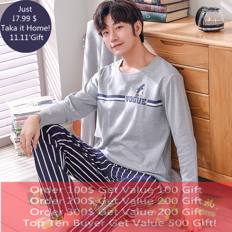 Brand Autumn Men's Cotton Pajamas Letter Striped Sleepwear Cartoon Pajama Sets Casual Loung Suits Pyjamas Plus Size 3XL Pijama