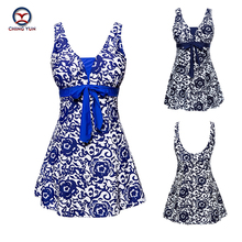 2017 Sexy printing Bare back vest Skirt Swimwear Women One Piece Swimsuit Beachwear Bathing suit Swimwear dress Plus size N9205 2018 new plus size plaid skirt bathing suit swimwear sexy women underwire summer swimsuit womens swimming dress beachwear