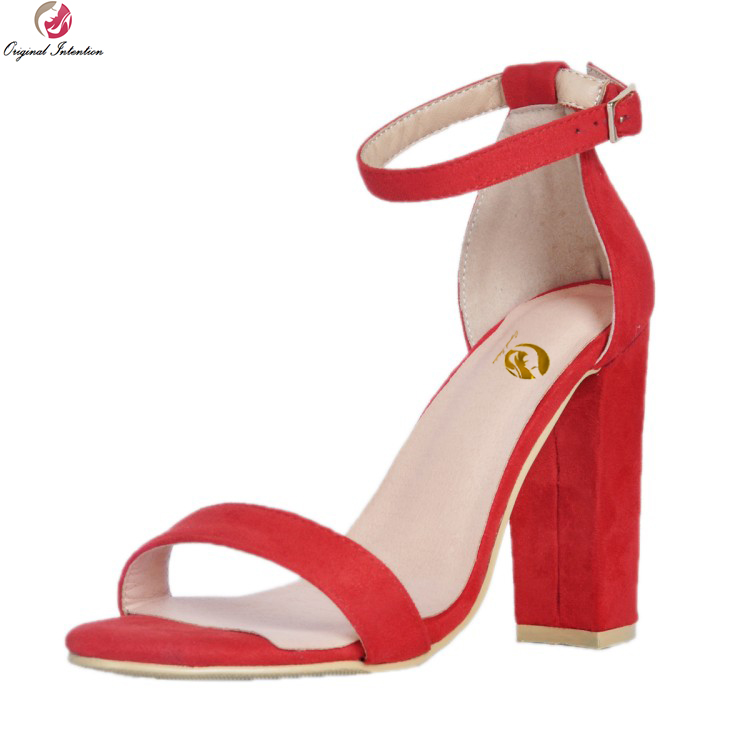 Original Intention Nice Elegant Women Sandals Fashion Open Toe Square Heels Sandals Popular Red Shoes Woman Plus US Size 4 15