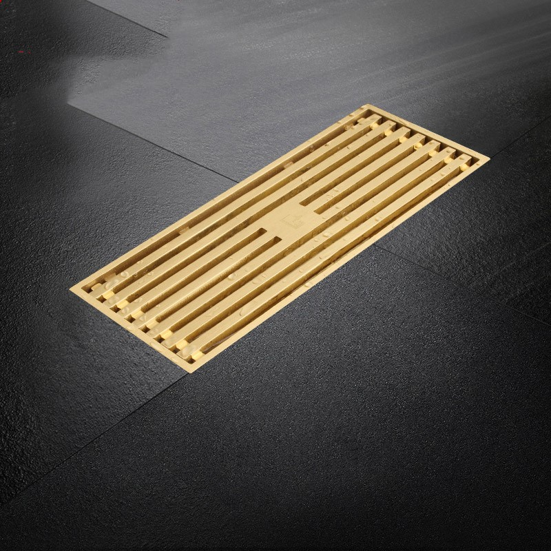 Luxury gold brass 300*80mm Rectangle Floor Drain Large flow Bathroom Linear Shower Drain Strainer with Long Removable Cover baldwin bf7949 dm secondary fuel element with removable drain