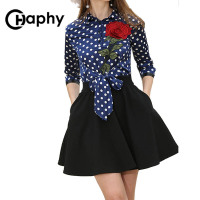 Embroidery Rose Dot Flower Dress 2017 Fashion Women Turn Down Collar Patchwork Rose Dot Slim Party