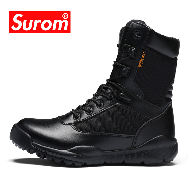 SUROM Camping Tactical Boots Outdoor Male Shoes Adult Krasovki Trekking Hiking Shoes Comfortable Breathable Men Leather Boots