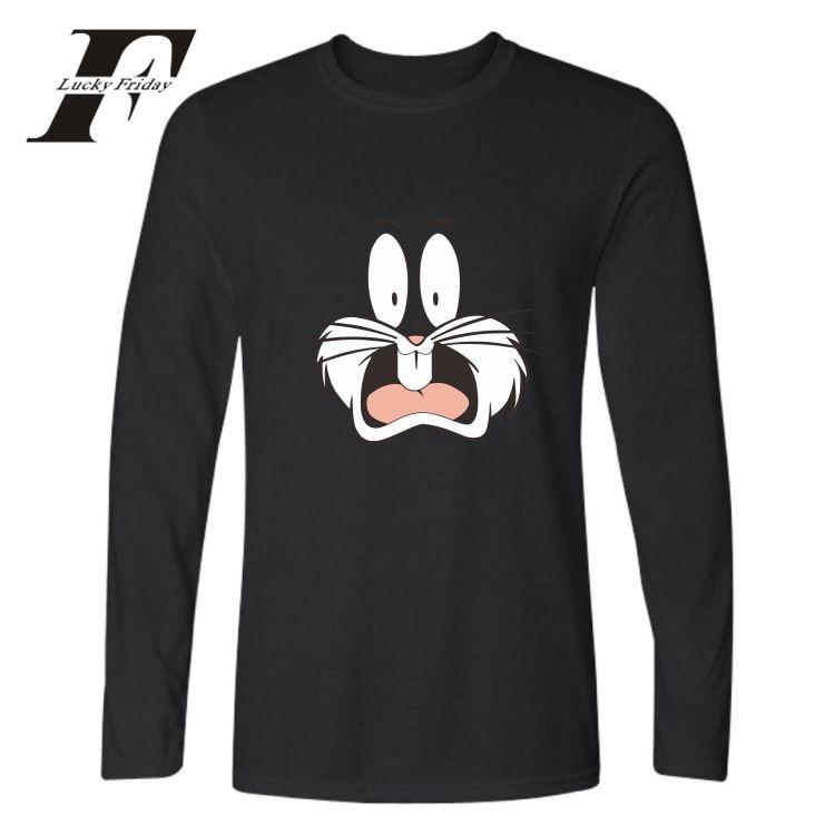 LUCKYFRIDAYF Bugs Bunny Autumn Cartoon Tee Shirt Men Long Sleeves Casual Print Men/Women Fashion T-shirt Men Cotton Plus Size
