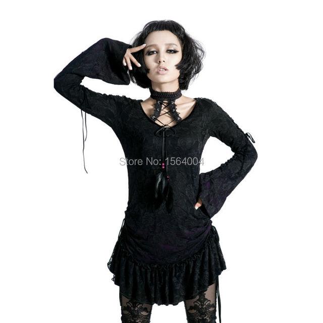 Punk Rockabilly Vendaje Gótico de La Vendimia Superior Camisa de Algodón Para Mujer S-XXL de moda BV