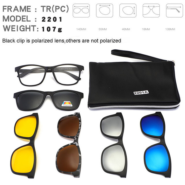 c87e2dc9c36 Square Retro Clip On Sunglasses Men Polarized Women Magnetic Night Vision  Optical Frame Set 5+