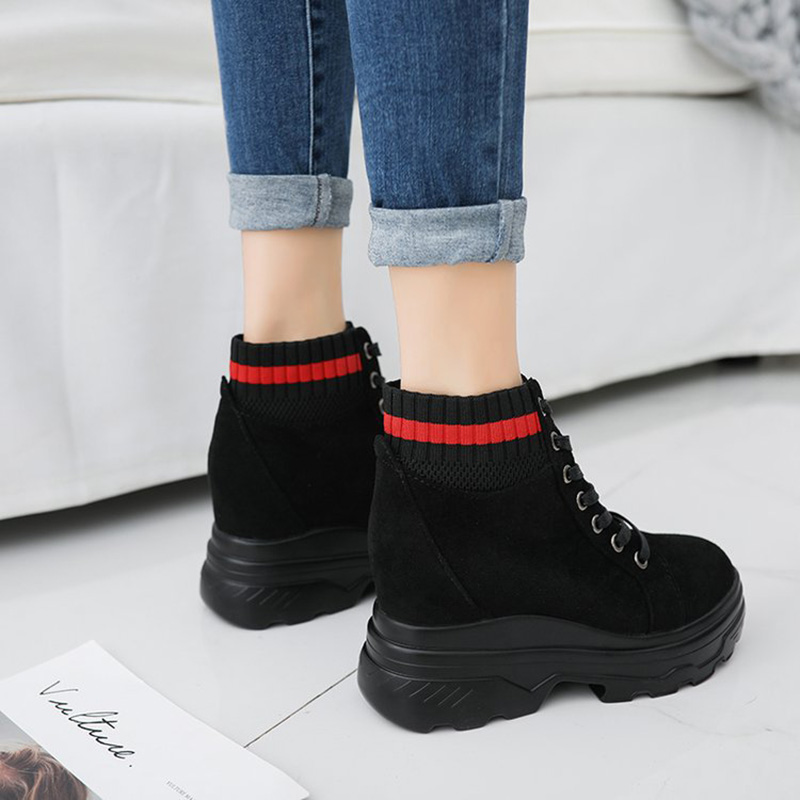 De Daim forme Wedge En Bas Chaussures Cm Qualité Automne Respirant Muffin Noir 10 Plate Nouvelle Sport Casual Plat Femmes rouge Haute rvw8xqAFZr
