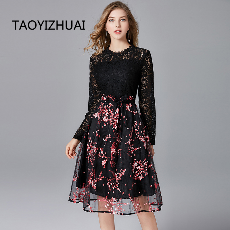 a2f235f34fa5 TAOYIZHUAI 2019 New Arrival Spring Summer High Street Waist Plus Size L  Print Organza Full Length Black Women Lace Dress 11602