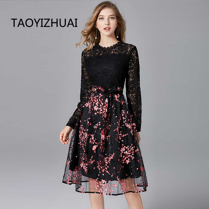 TAOYIZHUAI 2019, Новое поступление, осень, высокая уличная Талия, плюс размер, L, принт, органза, полная длина, Черное женское кружевное платье 11602