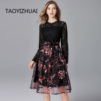 Женское кружевное платье TAOYIZHUAI, черное платье в полную длину из органзы с высокой талией и принтом размера плюс, распродажа на алиэкспресс