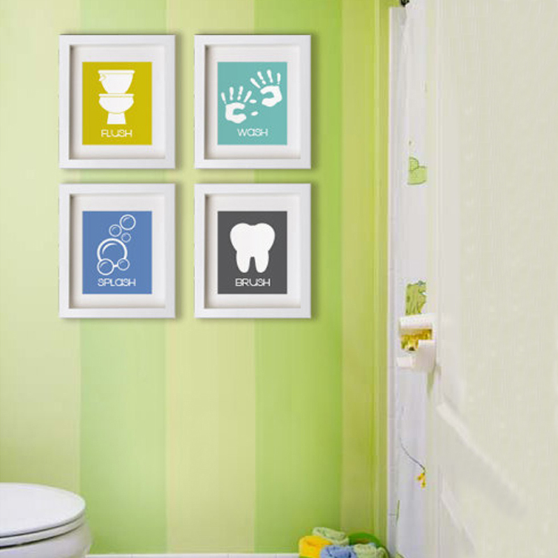 cartoon bathroom symbols canvas painting nursery wall art posters prints minimalist pictures for kids room home decor no frame