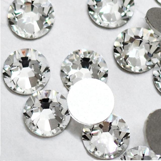 Супер-предложение блестящие 1440 шт. SS3 к SS10 не исправление Стекло Стразы прозрачного хрусталя для 3D Дизайн ногтей украшения Flatback strass камень