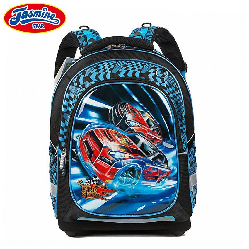 ФОТО JASMINESTAR Children School Bags New Cartoon Boy Race Car Primary Student Backpack Orthopedic School Bag Backpack Kids