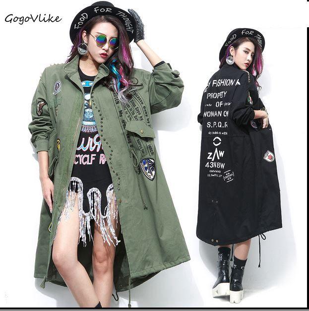 Punk rivet trech badge applique windbreaker letter print spike outerwear female long design loose punk army