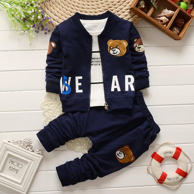2016 nova primavera outono bebê menino roupas crianças avtive urso dos desenhos animados 3 pcs conjuntos de roupas crianças meninos casaco + T shirt + calças de algodão