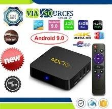 Rom IPTV Smart Set-top Box 4K USB 3.0 HDR H.265 Media Player Box MX10 Smart TV BOX Android 9.0 Rockchip RK3328 DDR4 4GB Ram 64GB