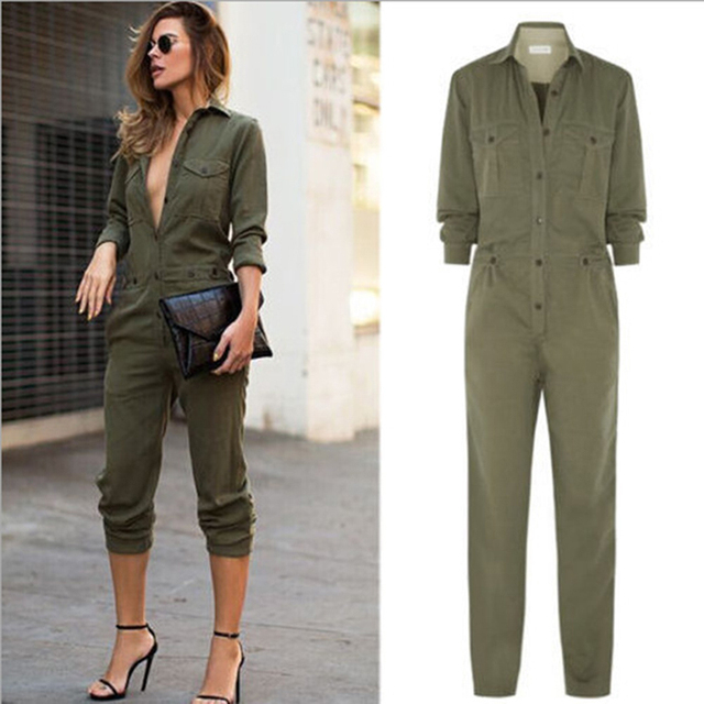 40df411954a Safari Style Women Army Green Long Sleeves Turn-down Collar Buttons Closure  Slim Playsuit Romper