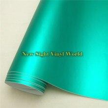 Alta calidad de satén cromo mate Tiffany azul del abrigo del vinilo de la burbuja libre para Car Styling tamaño : el 1.52 * 20 M / Roll