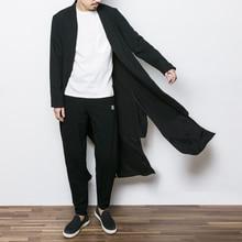 2017 China stil mens graben jacke männlichen frühjahr herbst kimono cardigan coat punk mode casual langen graben outwear F13