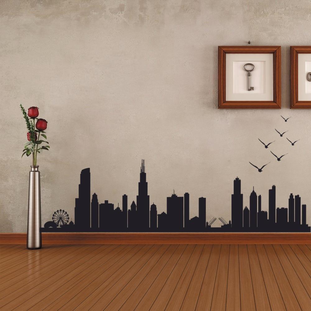 Chicago Skyline Silhouette Wall Decal Custom Vinyl Art Stickers - Custom vinyl decals chicago