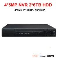 4*5M/8*1080P/16*960P NVR IP Video Recorder Network IP NVR 2*6TB SATA HDD at max with HDMI VGA P2P remote view by smart phone/PC