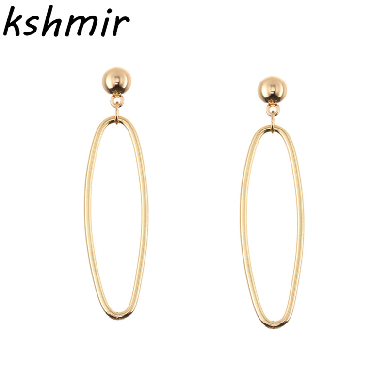Fashionable and exquisite simple new female ear nail earrings with a beautiful combination of oval earring earrings gold and