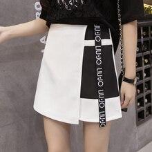 Summer Chiffon Skirts 2019 Korean Fashion Style Women Patchwork Letter Printed Female A-line Anti-light High Waist