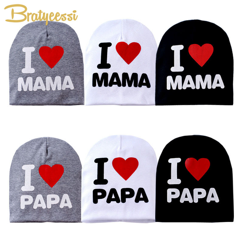 I LOVE PAPA MAMA Baby Hat Elastic Cotton Toddler Baby Beanie Cap For Girl Multicolor Infant Boy Hat Accessories 1 PC