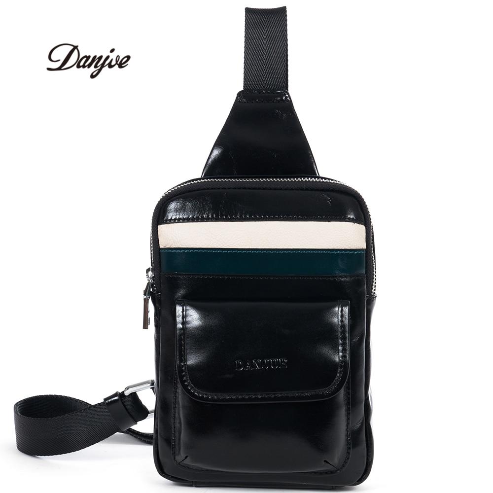 DANJUE Genuine leather chest bag men fashion real leather high quality messenger bag soft brand men casue travel shoulder bags