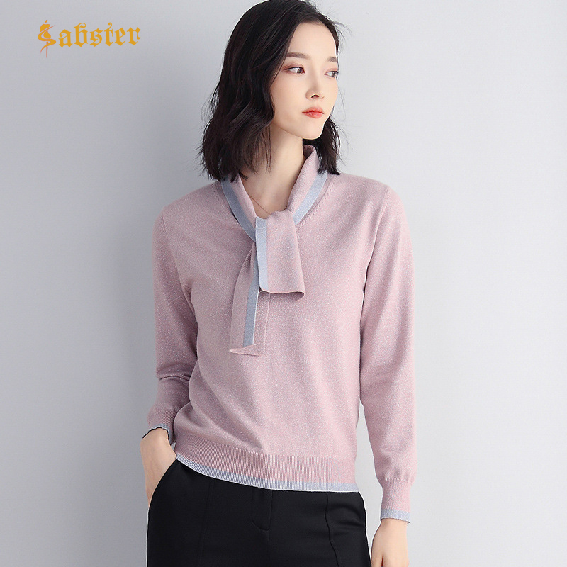 Fashion Scarf Collor Sweater Female Spring Autumn Sweater Pullovers Women Bright Silk Knitted Jumper Sweater Tops Kz535