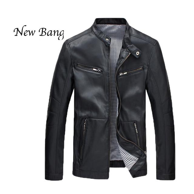2016 Nuevo Hombre Primavera Capa Ocasional Otoño Hombres Chaqueta De Cuero de La Motocicleta Más Tamaño 5XL Negro Chaquetas Azules