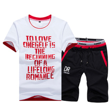 2Pcs New Mens T Shirt Sets Casual Tshirt +Shorts Sportswear tshirts Man Beach  Sweatshirt Men Brand Set