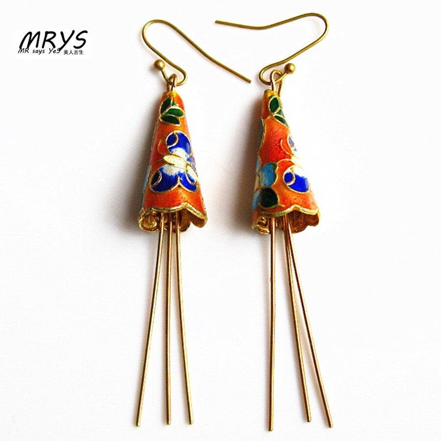 New Orange Horn Flower Ethnic Cloisonne Enamel Fashion Jewelry Earrings For Women Girl Copper Hook handmade Party Christmas Gift