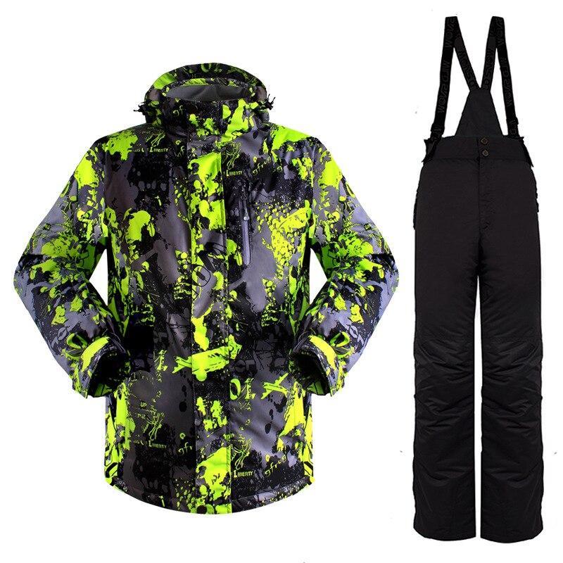 Men Skiing Jackets Sets Winter Outdoor Ski Jackets Pants Snowboarding Hiking Windproof Waterproof Sportswear Suits q1SKT26