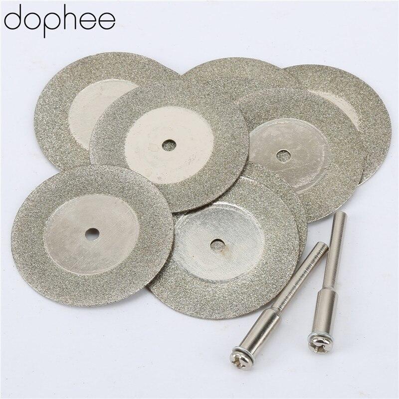 Dophee 35MM Dremel Accessories Stone Jade Glass Diamond Cutting Disc Fit Rotary Tool Dremel Drills Sheet Tool+Two Mandrel 10PCS
