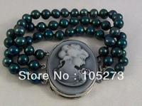 New Free Shipping 8 9mm Black Round Shaper Natural Freshwater Pearl Bracelet 8'' Fashion Jewelry Beautiful Shell Cameo Clasp