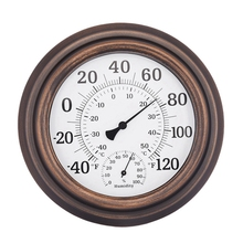 Large Size Temperature Hygrometer Home interior Decoration Wall Type Hanging Bronze Color atmosphere Fahrenheit Centigrad