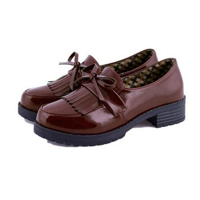 Loafers Women Shoes British Retro Tassels Leather Shoes Shallow Mouth Round-Head Thick Heel Plus Size 35-39 P8A68