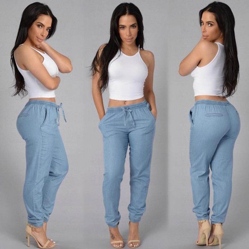 2017 New Arrival Woman Jeans Mid Waist Trouser For Women Loose Casual Style Jeans Denim Pencil