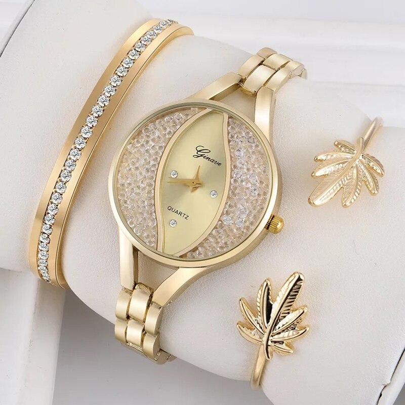 3 PCS set Ginave Watch Women Flow Sand Diamond Bracelet Watch Luxury Jewelry Ladies Female Girl Hour Casual Quartz Wristwatches