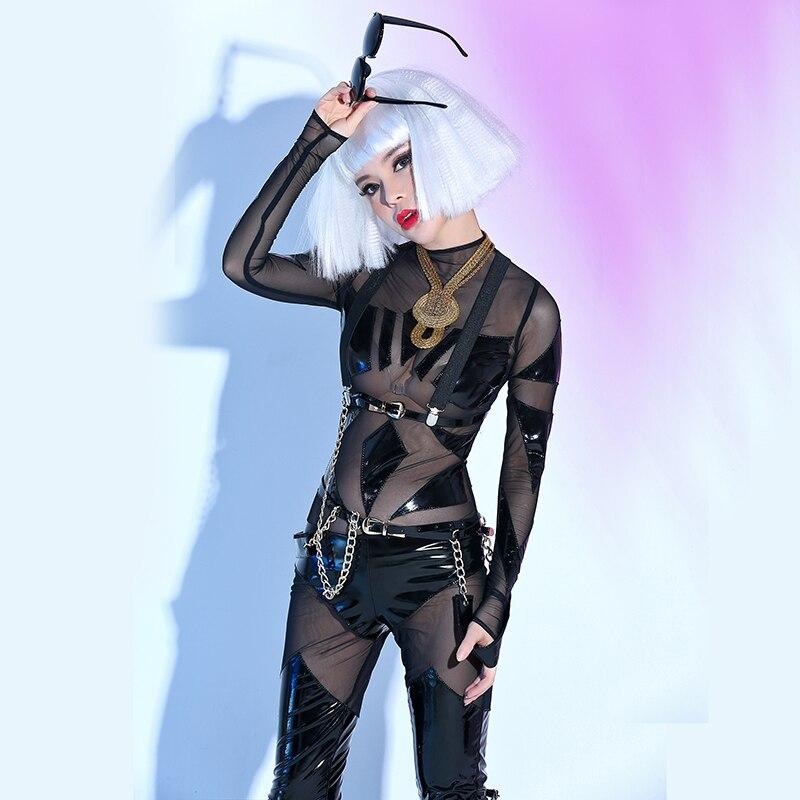 De Porter Perspective Bar Partie Modèle Danse Costume Stage Chanteuse Discothèque Noir Sexy Dj Black Spectacle Moderne Individualité xBQrCWoed