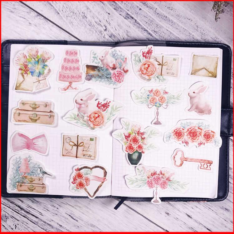 17 قطعة Pink الوردي شخصية سجل القصاصات ملصقات سكرابوكينغ المواد شخصية ملصق سعيد مخطط الديكور الحرفية