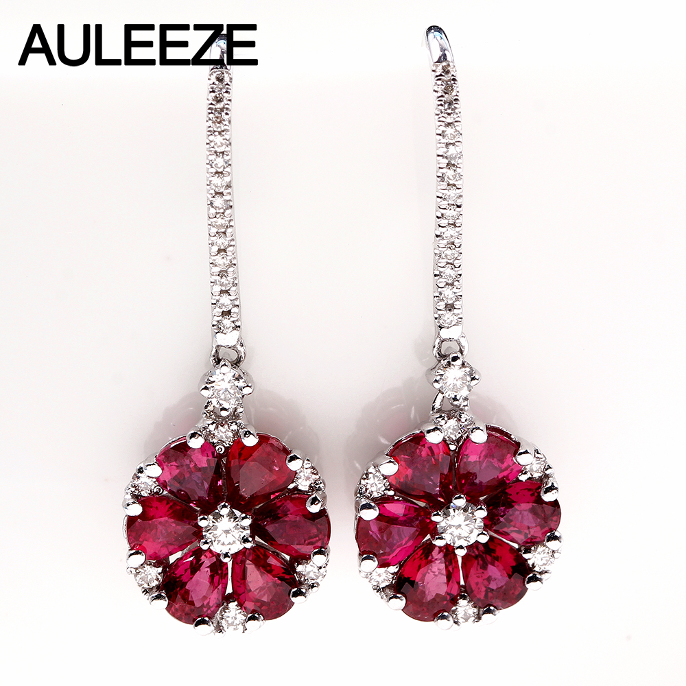 AULEEZE Gorgeous 2.65cttw Natural Ruby 18K White Gold Earrings Real Diamond Engagement Wedding Drop Earrings For Women Jewelry