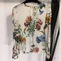 Новая шелковая блузка женская элегантная шелковая блузка с длинным рукавом ретро цветочный принт блузка женская повседневная женская блуз
