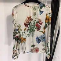 Neue Seide Bluse Frauen Elegante Lange Hülse Seide Bluse Retro Blume Drucken Bluse Weibliche Casual Frauen Bluse High Fashion