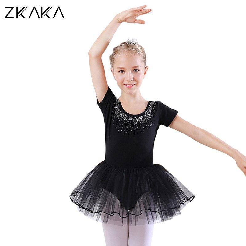 ZKAKA robe de Ballet enfants à manches courtes gymnastique danse justaucorps Costume Dancewear jupe