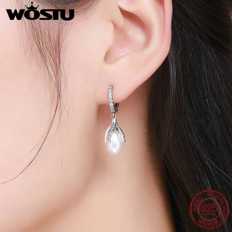 WOSTU Authentische 925 Sterling Silber Blühende Blume Blütenblatt Süßwasser Perle Ohrringe für Frauen Luxus Silber Schmuck DXE259